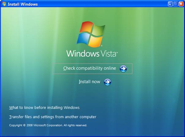 Windows Vista - Installation - Vérification de la compatibilité
