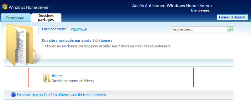 Windows Home Server dossiers partagées