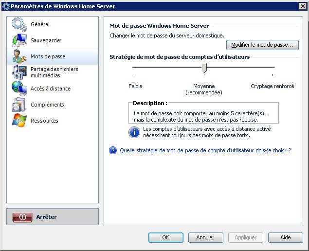 Windows Home Server Mots de passe