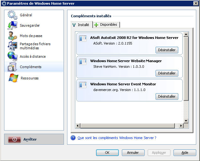 Windows Home Server - Compléments