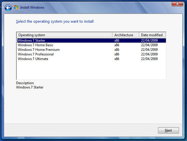 Select Windows 7 SKU