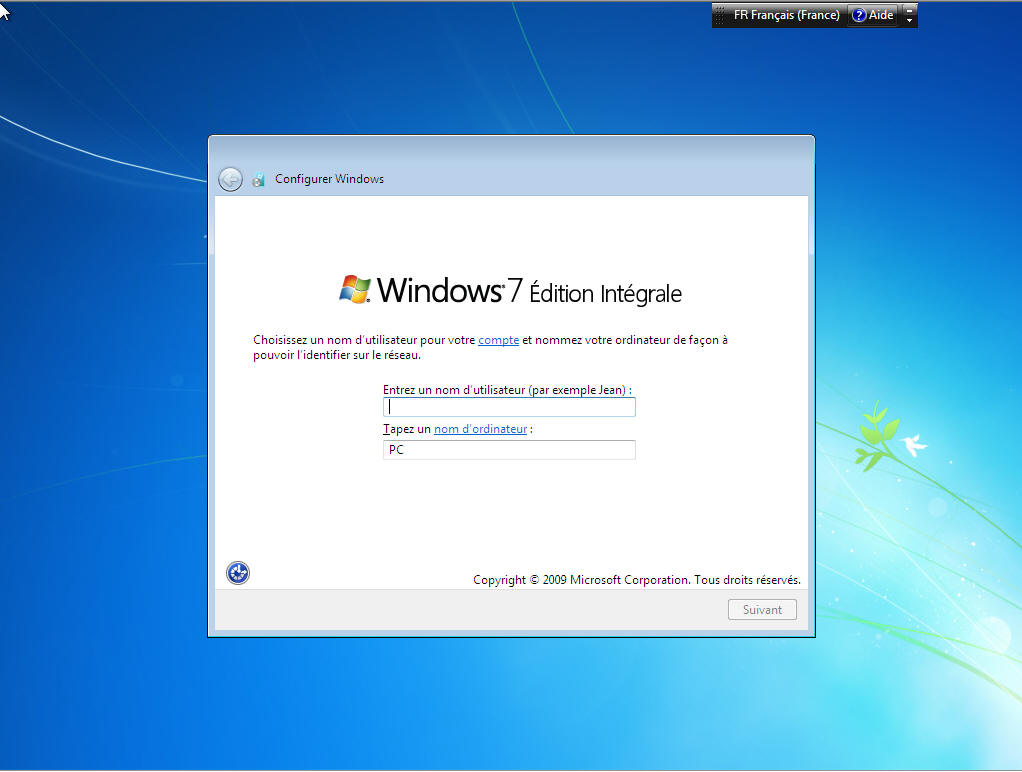 Windows 7 compte de PC