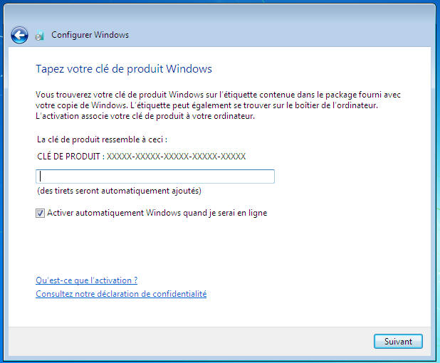 Windows 7 - Clef de produit