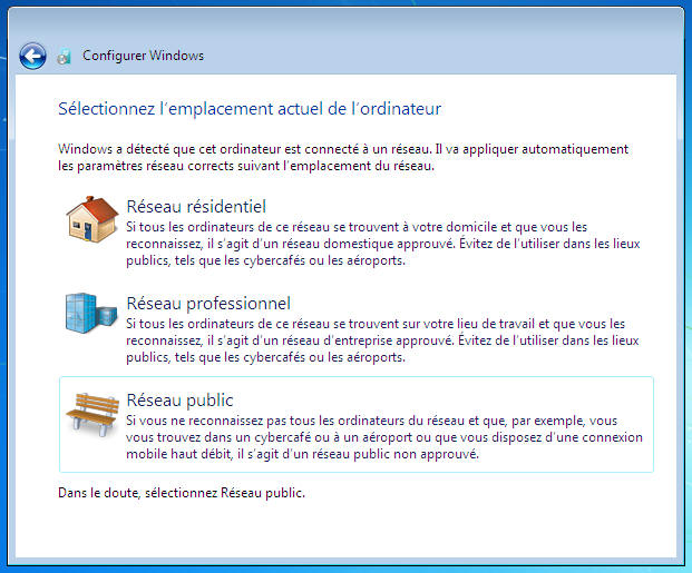 Windows 7 - Type de réseau