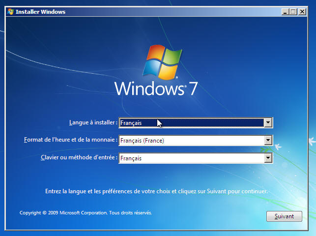 Windows 7 - Langue et clavier