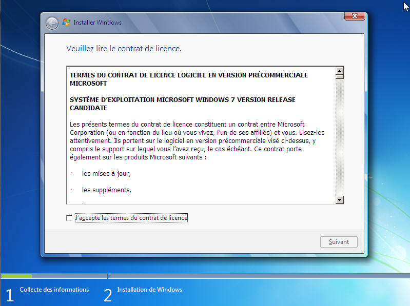 Windows 7 -Contrat de licence