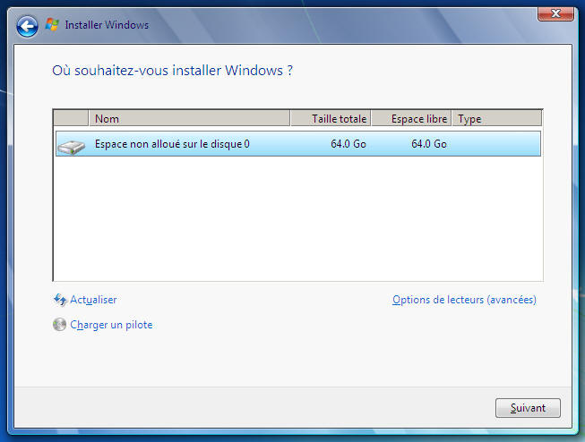 Windows 7 - Où installer Windows