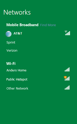 Networks / Mobile broadband / AT&T (Connected icon)/ Sprint / Verizon / Wi-Fi / Anders Home (icon: signal strength good) / Public Hotspot (icon: signal strength good, but network insecure)/ Other Network (icon: signal strength good)