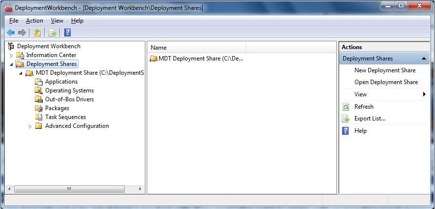 MDT 2010 Deployment Workbench