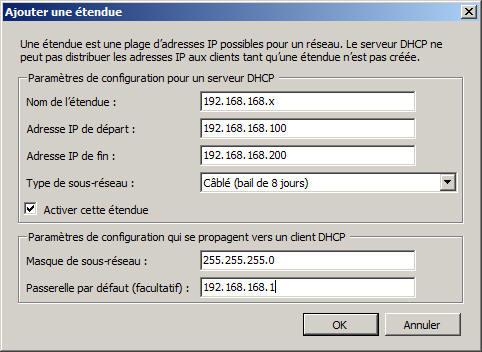 exemple de configuration dhcp