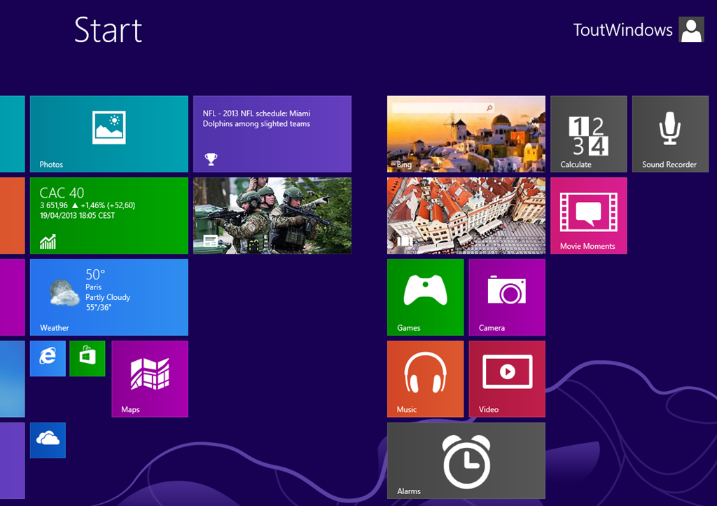 Metro : Windows 8