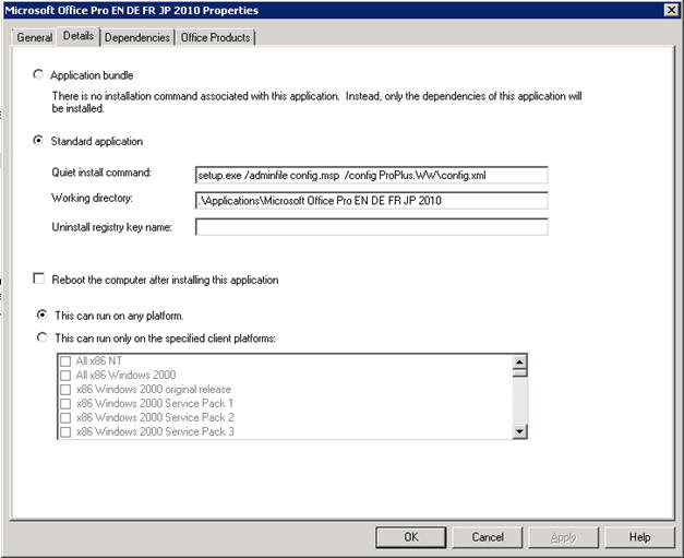 MDT Office 2010 command line