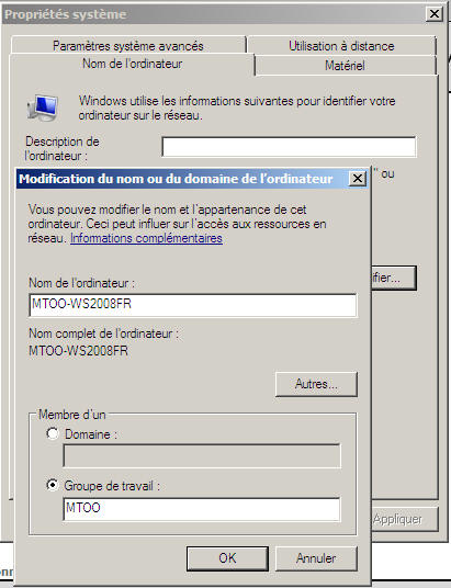 Windows Server 2008 - nom et domaine