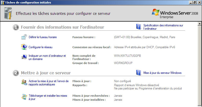 Windows Server 2008 - Taches initiales
